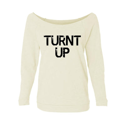 Turnt Up Womens Raw-Edge Scoop Neck Sweater