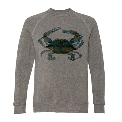 Blue Claw Crab Adult Raglan Sweatshirt