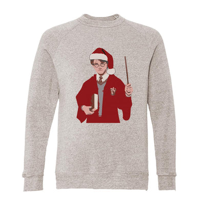 Harry Potter Wearing Santa Hat Adult Raglan Sweatshirt