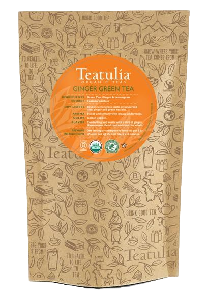 Teatulia Organic Ginger Green Tea Unwrapped