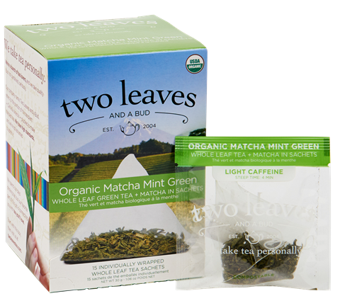 Two Leaves Organic Matcha Mint Green Tea Sachets