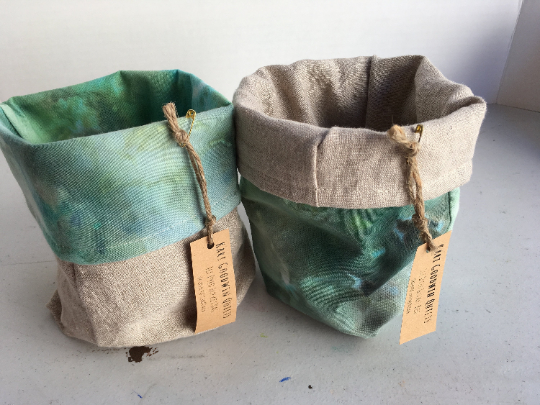 Organic Cotton and Linen Fabric Bin, Desk Organizer - Ice Dyed Green #01