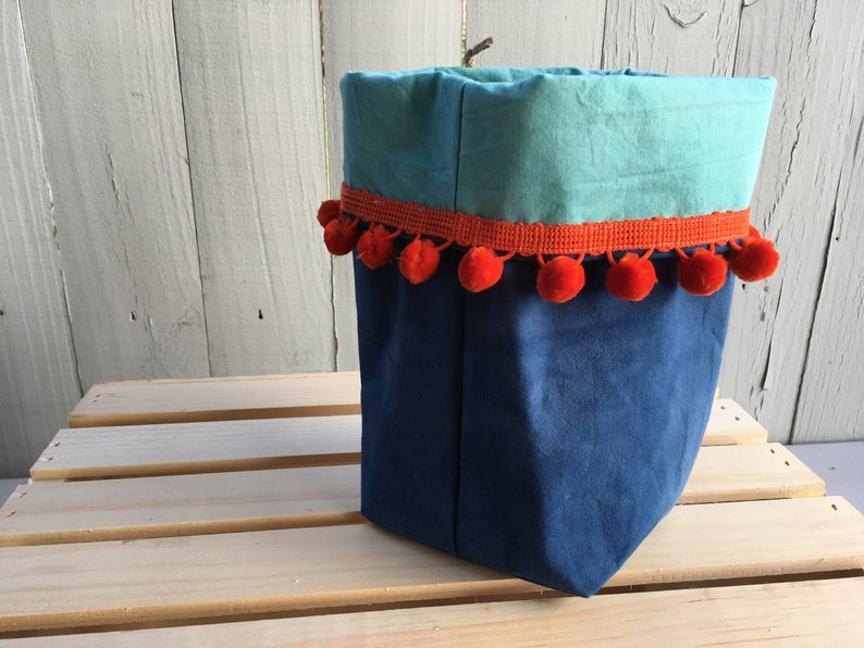 Organic Cotton and Linen Fabric Bin, Desk Organizer, Indigo and Sea Glass with Poms #08