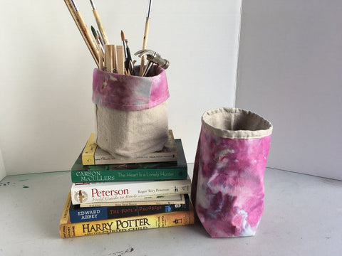 Organic Cotton and Linen Fabric Bin, Desk Organizer, Ice Dyed Berry #05