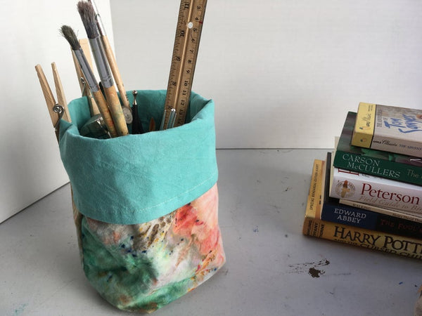 Organic Cotton and Linen Fabric Bin, Desk Organizer, Ice Dyed Sea Glass #06