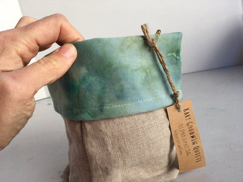 Organic Cotton and Linen Fabric Bin, Desk Organizer, Ice Dyed Green #02