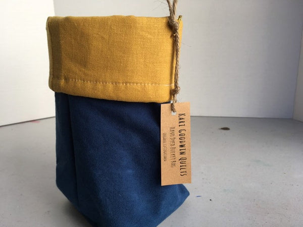 Organic Cotton and Linen Fabric Bin, Desk Organizer, Indigo and Gold #07