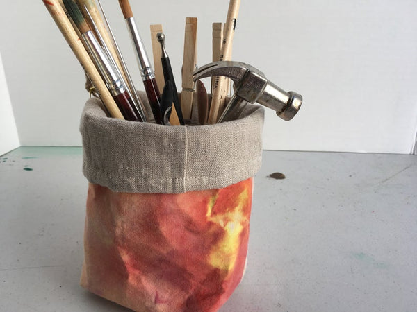 Organic Cotton and Linen Fabric Bin, Desk Organizer, Ice Dyed Coral #03