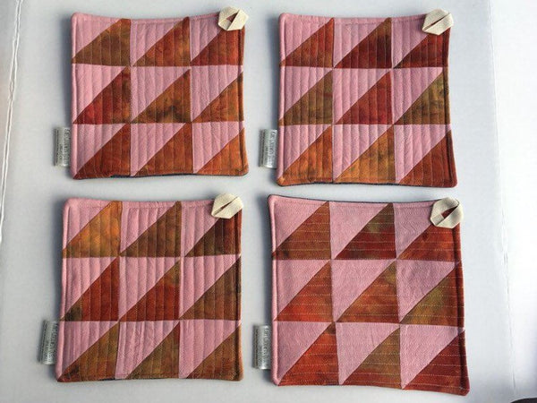Quilted Potholders - Hand-Dyed Organic Cotton, Set of Two