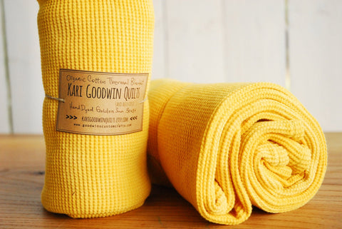Hand-Dyed Organic Thermal Cotton Blanket - Golden Sun