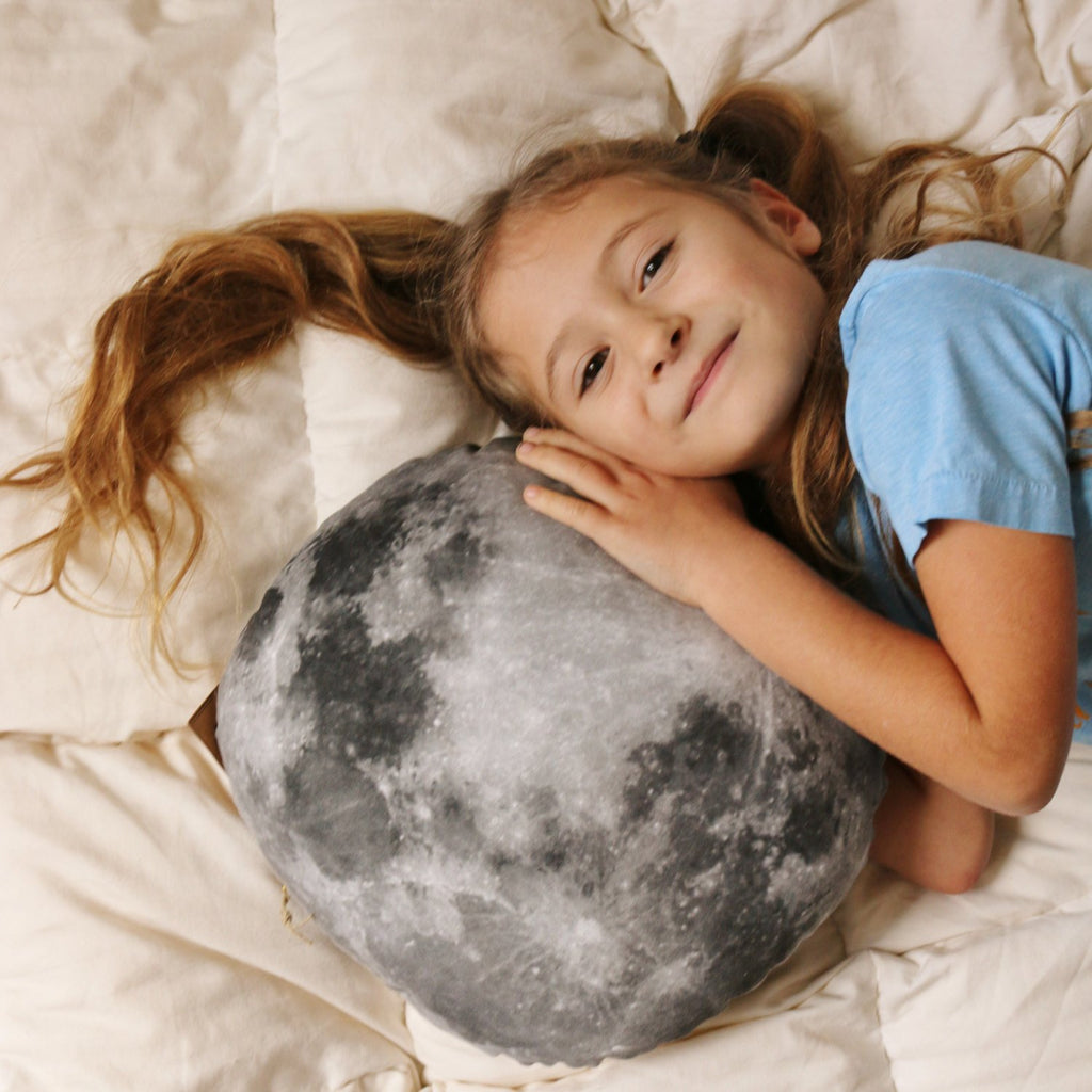 Small Organic Cotton and Linen Moon Pillow