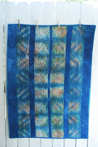 Hand-Dyed Organic Cotton Quilt - DIVIDED SKY