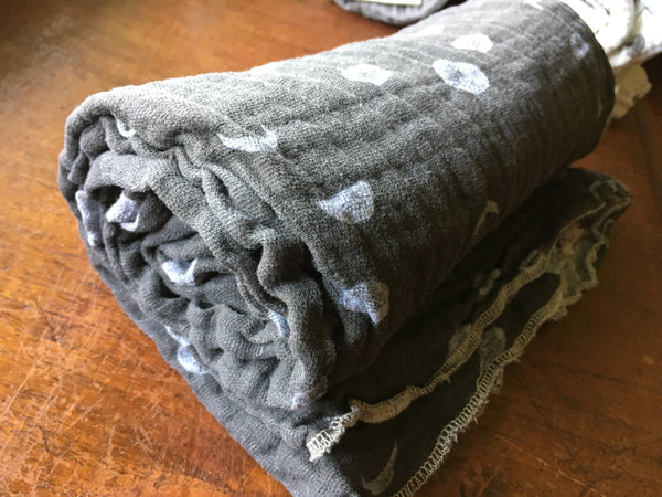 Organic Cotton Gauze Swaddling Blanket - Gray Moon Phases