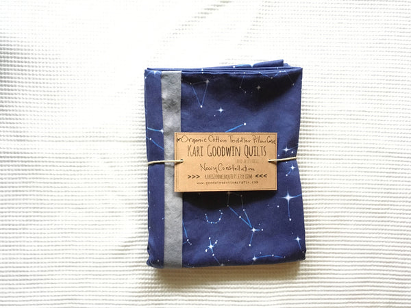 Organic Cotton Pillow Case - Navy Constellation Map