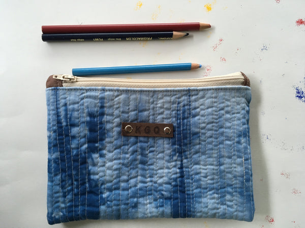 Hand-Dyed Organic Cotton Quilted Zipper Pouch