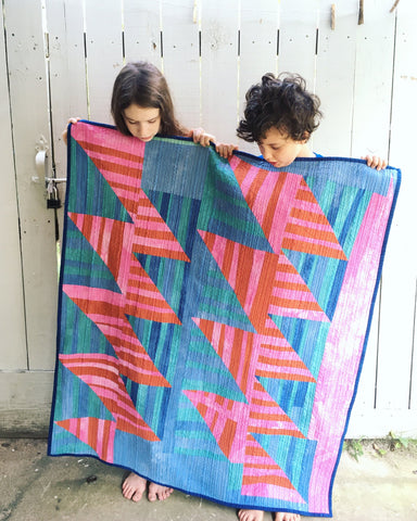 Hand-Dyed Organic Cotton Quilt - WONKY HALF SQUARE TRIANGLES