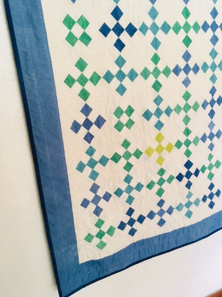 Hand-Dyed Organic Cotton Quilt - HAND QUILTED IRISH CHAIN