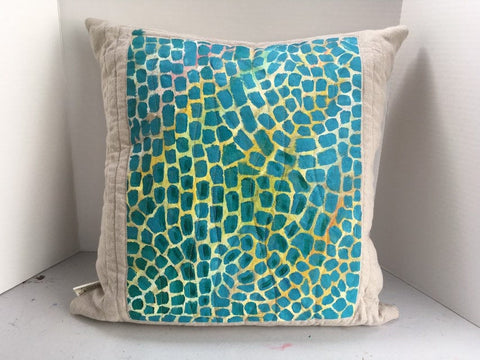 "Alma Thomas Inspired Pillow, Decorative Throw Pillow 20"" x 20"", Hand-Painted Pillow, Ready to Ship"