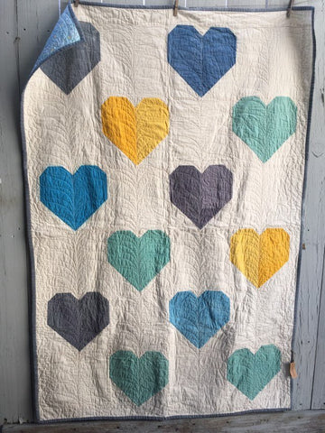 Hand-Dyed Organic Cotton Quilt - HEARTS FOR PULSE