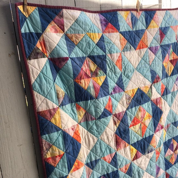 Hand-Dyed Organic Cotton Quilt - DIAMONDS ON THE SQUARE