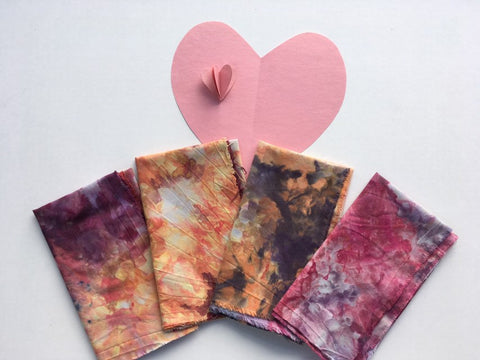 Ice Dyed Fat Quarter Bundle, Hand Dyed Organic Cotton, Set of Four #014
