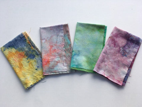 Ice Dyed Fat Quarter Bundle, Hand Dyed Organic Cotton, Set of Four #011
