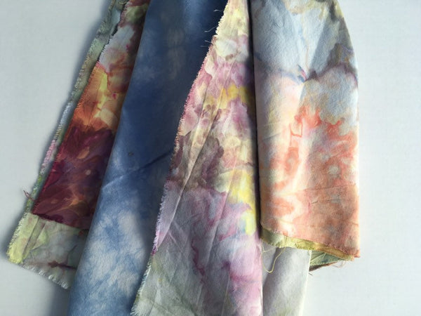 Ice Dyed Fat Quarter Bundle, Hand Dyed Organic Cotton, Set of Four #010