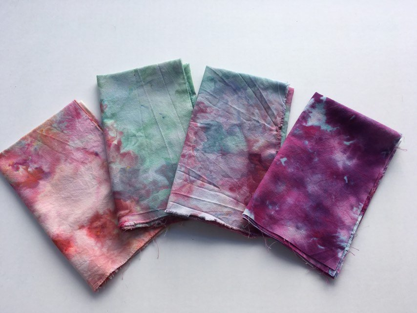 Ice Dyed Fat Quarter Bundle, Hand Dyed Organic Cotton, Set of Four #009