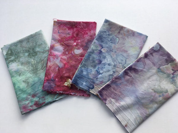 Ice Dyed Fat Quarter Bundle, Hand Dyed Organic Cotton, Set of Four #015