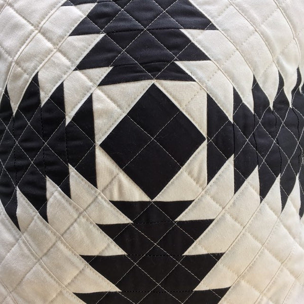 Quilted Throw Pillow, Organic Cotton, Handmade Cushion, Black and White Pineapple Quilt Block Pillow Cover
