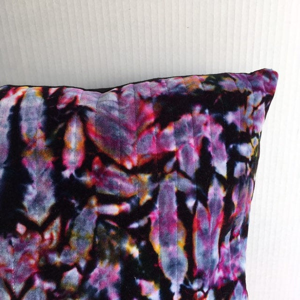 Quilted Throw Pillow, Handmade Cushion, Ice-Dyed Velvet Pillow Cover