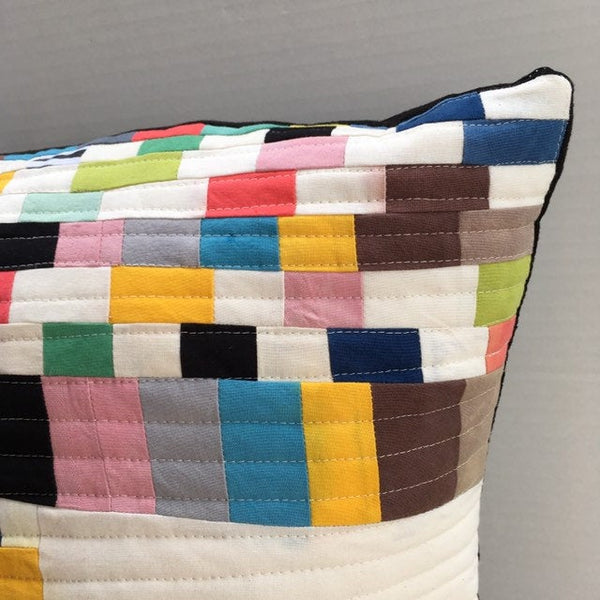 Quilted Throw Pillow, Organic Cotton, Handmade Cushion, Mini Art Quilt Pillow Cover