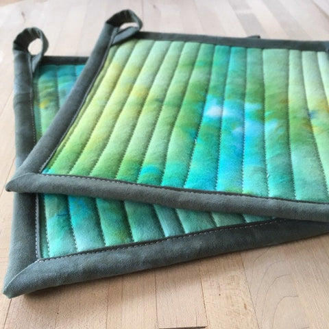 Quilted Pot Holders, Set of Two, Modern Table Trivets