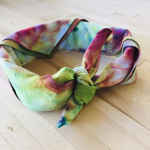 Ice Dyed Hank, EDC Hankerchief, Ice-Dyed Cotton Bandana, Every Day Carry Hank #13