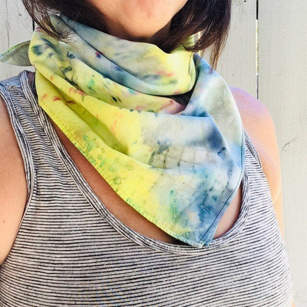Ice Dyed Hank, EDC Hankerchief, Ice-Dyed Cotton Bandana, Every Day Carry Hank #01