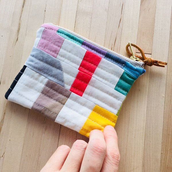 Coin Purse, Quilted Zipper Pouch, Hand Made from Organic Cotton #003