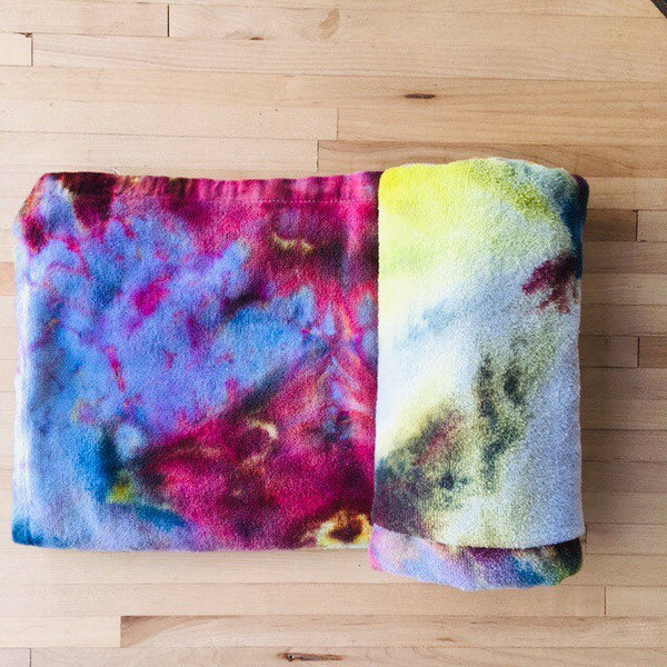 Ice Dyed Cotton Beach Towel, Tie Dyed Swim Towel, Bath Towel #002