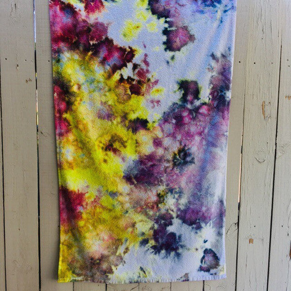 Ice Dyed Cotton Beach Towel, Tie Dyed Swim Towel, Bath Towel #004