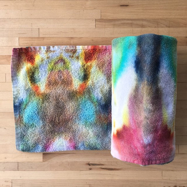 Ice Dyed Cotton Beach Towel, Tie Dyed Swim Towel, Bath Towel #008