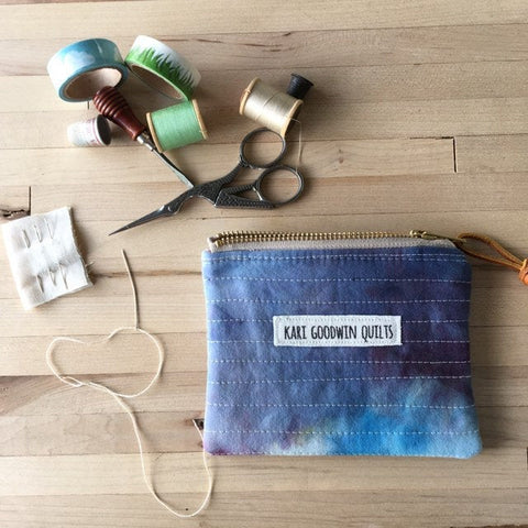Coin Purse, Quilted Zipper Pouch, Hand Made from Organic Cotton #004