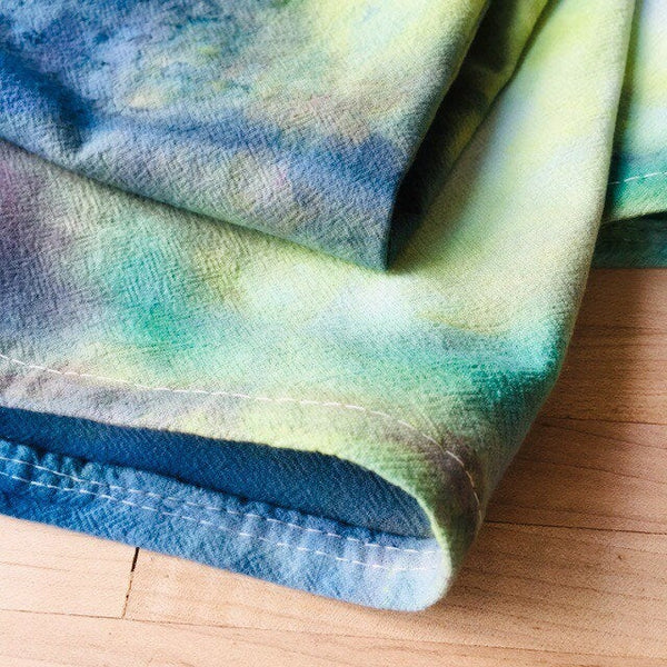 Cotton Flour Sack Towel, Hand-Made Housewarming Gifts, Ice-Dyed Tea Towel #024