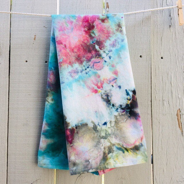 Cotton Flour Sack Towel, Hand-Made Housewarming Gifts, Ice-Dyed Tea Towel #019