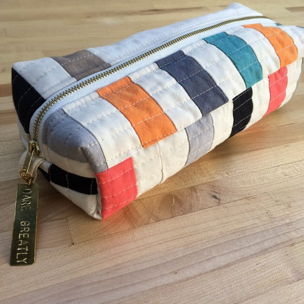 Pencil Pouch, Quilted Zipper Pouch, Hand Made from Organic Cotton #012