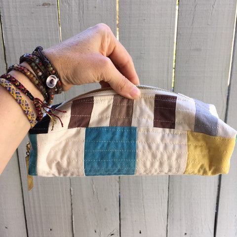 Pencil Pouch, Quilted Zipper Pouch, Hand Made from Organic Cotton #015