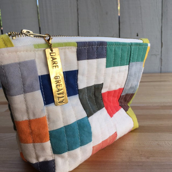 Pencil Pouch, Quilted Zipper Pouch, Hand Made from Organic Cotton #017