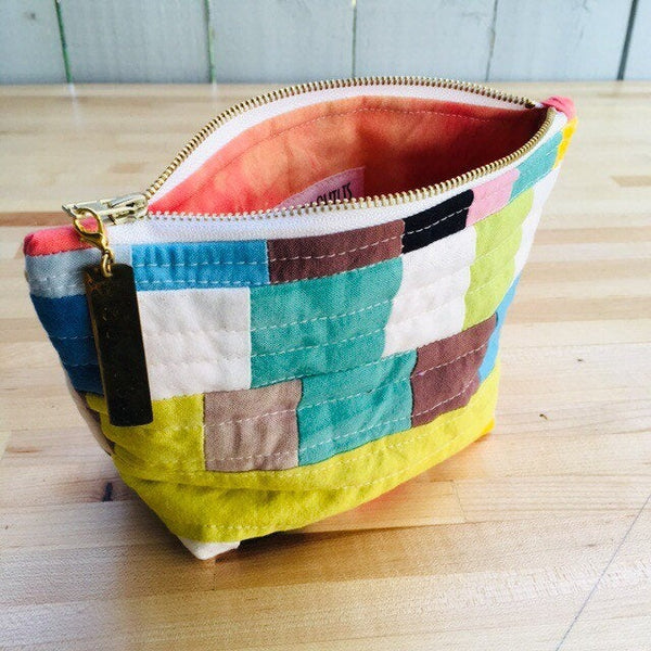 Pencil Pouch, Quilted Zipper Pouch, Hand Made from Organic Cotton #020