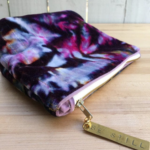 Pencil Pouch, Quilted Zipper Pouch, Hand Made from Organic Cotton #021