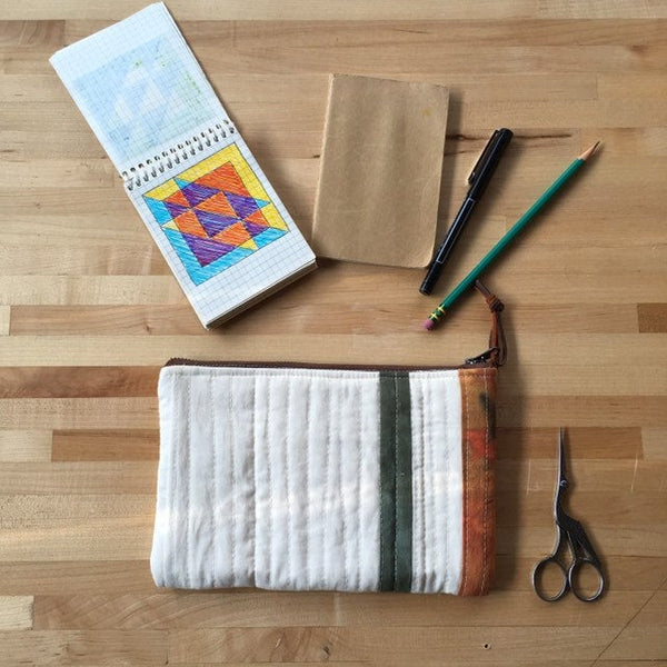 Small Clutch Purse, Quilted Zipper Pouch, Hand Made from Organic Cotton #022