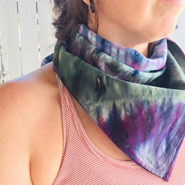Ice Dyed Hank, EDC Hankerchief, Ice-Dyed Cotton Bandana, Every Day Carry Hank #019