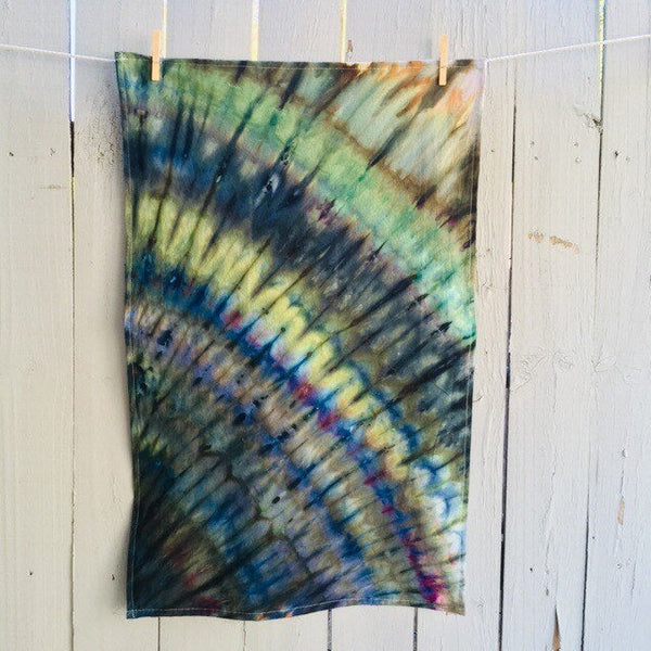 Cotton Flour Sack Towel, Hand-Made Housewarming Gifts, Ice-Dyed Tea Towel #027